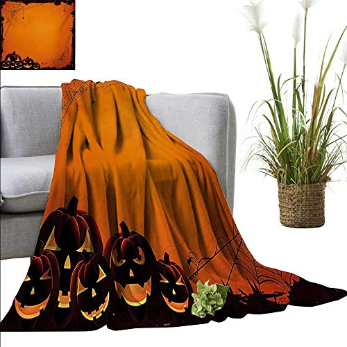 AndyTours Sand Free Beach Blanket,Halloween,Grunge Spider Web Jack o Lanterns Horror Time of Year Trick or Treat Print,Orange Seal Brown,Soft Summer Cooling Lightweight Bed Blanket -