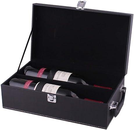 Compra Accesorios de caja de botella de vino de cuero de PU, Diseño simple Negro Cuero de PU Portátil Caja de vino de 2 botellas Manija superior Viaje Portador de vino Caja