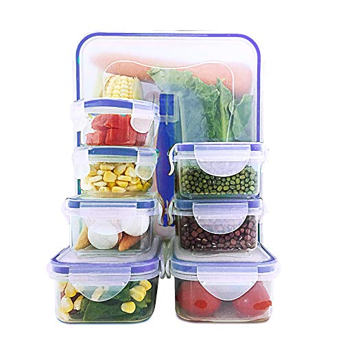 Happlee Food Storage Containers with Lids Airtight Leak Proof Stackable Clear Plastic Reusable Lunch Boxes Microwave Freezer Dishwasher Safe (16 Pieces)