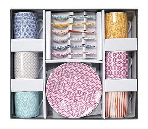Casalanas Tokyo Design Studio, Star wave, Expresso Set decorativo in confezione regalo, porcellana, 18pezzi, 6persone.