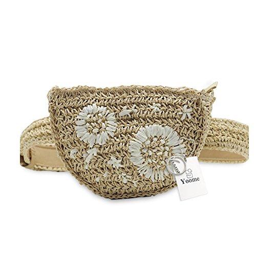 Yoome Straw Waist Bag Women Fanny Packs Handmade Belt Bag wi