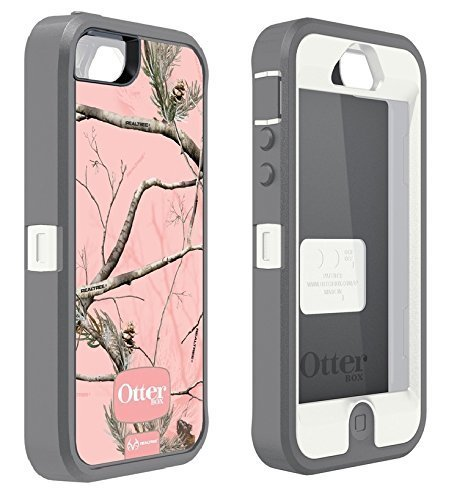 iPhone 5 Case Made In The USA - OtterBox Defender Series Case With Realtree Camo for Apple iPhone 5 (Case Only - Holster Not Included) (Pink - White)