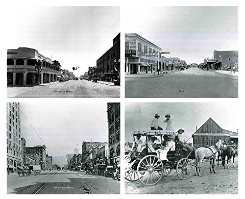 (Impact Posters Gallery Vintage Las Vegas Stage Coach, The Nevada Hotel, 1915 Majestic Post Office, Overland Hotel 1930 Motor Car Old City Set Four 16x20 Black and White Wall Decor Art Print Poster )