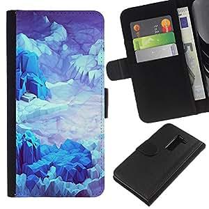 All Phone Most Case / Oferta Especial Cáscara Funda de cuero Monedero Cubierta de proteccion Caso / Wallet Case for LG G2 D800 // Iceberg Planet Space Terrain Blue
