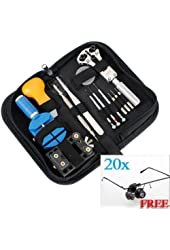13PCS Watch Repair Tool Remover Back Case Opener Battery Change Kit +Magnifier