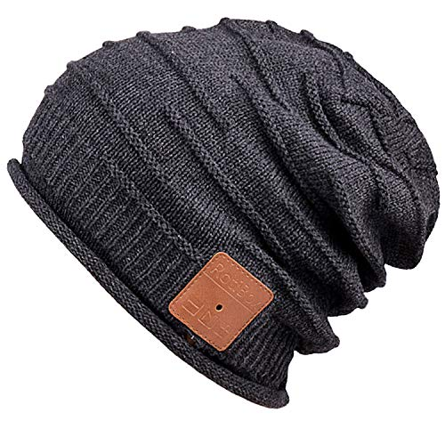 Mydeal Adult Unisex Trendy Soft Warm Bluetooth Beanie Hat Short Music Cap with Wireless Headphone Headset Speaker Mic Hands-free,Christmas Gift for Winter Outdoor Sport Skiing Snowboard - Black