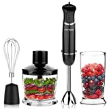 OXA Smart Powerful 12-Speed 4-in-1 Immersion Hand Blender Set Includes Food Chopper, Egg Beater and Beaker, PP Slip-proof Ergonomic Grip Detachable,Comfortable Silicone Button, Anti-Splash, Black