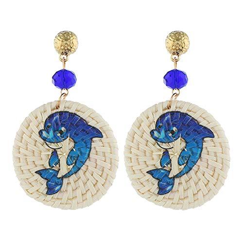 fublousRR5 Women's Hook Earrings, Girls 3 Dolphin/Seahorse/Parrot/Crab Pattern Round Rattan Charm Hook Earrings Women Jewelry 1# ()