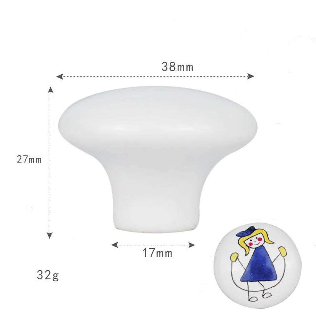 TETAKE M/öbelkn/öpfe Kinderzimmer 10x Keramik Schubladenkn/öpfe Kinder Motiv mit Schraube f/ür M/ädchenzimmer und Jungenzimmer