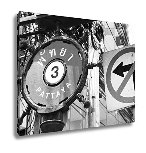 Ashley Canvas Street Sign Pattaya 3 In English And Thai Next To A No Left Turn Sign, Wall Art Home Decor, Ready to Hang, Black/White, 16x20, AG5892511 by Ashley Canvas