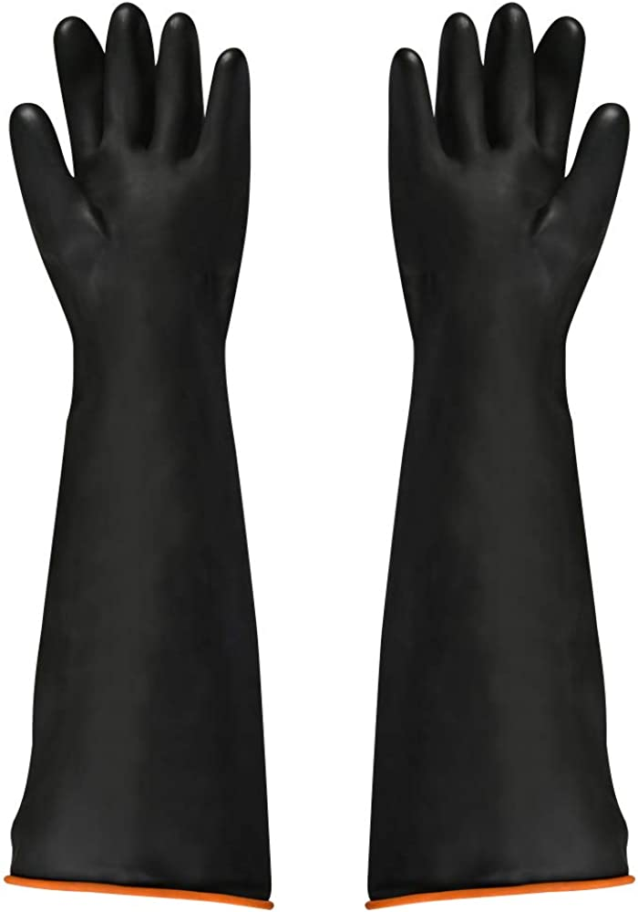 FOCCTS Guantes químicos de látex, 1 par de guantes de látex, resistentes al ácido y a los álcalis, guantes largos de trabajo de seguridad industrial, guantes largos, 55 cm, color negro