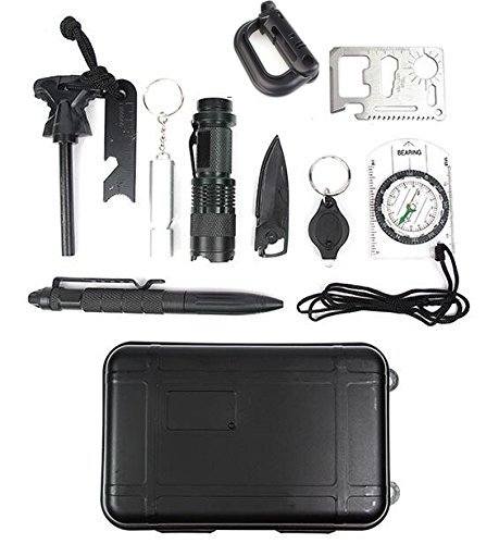 Emergency-Survival-Gear-Kits-11-in-1-HuKimGee-Multi-Professional-Outdoor-Survival-Tool-with-Fire-Starter-Knife-Whistle-Flashlight-Tactical-Pen-etc-for-Travel-Hike-Field-Camp-Wild-Survival-Hunting