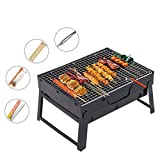 Portable Charcoal BBQ Grill Mini Folding BBQ Grill, Portable Charcoal Stainless Steel Barbecue Grill, Camping Outdoor Garden Grill