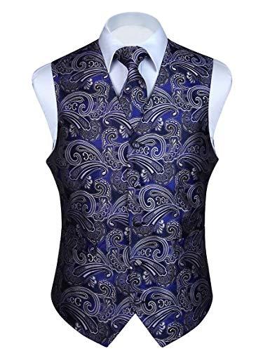 (HISDERN 3pc Men's Paisley Floral Jacquard Waistcoat & Necktie and Pocket Square Vest Suit Set Blue/Purple)
