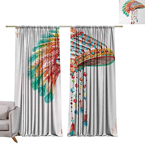 berrly Best Blackout Curtains American,Watercolor Tribal Native Chief Headdress with Feathers Beads Arrow Figures Print,Orange Blue W96 x L84 Blackout Curtain Set ()