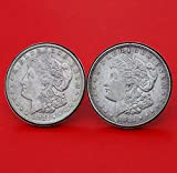 US 1921 Morgan Silver Dollar Silver Cufflinks NEW