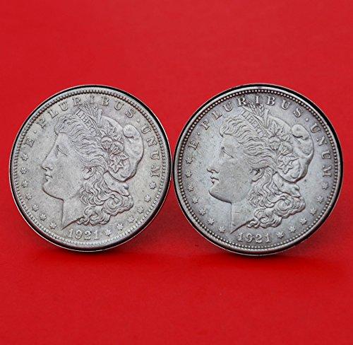 US 1921 Morgan Silver Dollar Silver Cufflinks NEW by jt6740