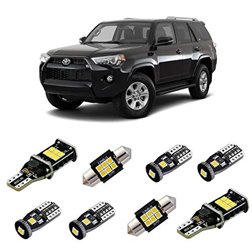 iBrightstar 2006+ Toyota 4Runner Super Bright Canbus LED Bulbs Package Kit replacement for Interior Lights + License Plate Lights + Cargo Lights + Back Up Reverse Lights, Xenon White ()