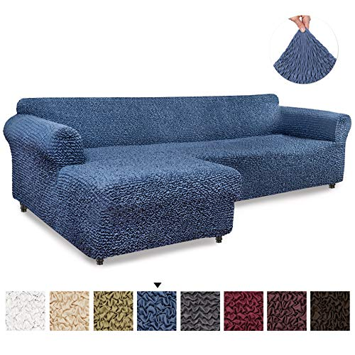 Sectional Sofa Cover - Sectional Couch Covers - L Couch Cover - Soft Polyester Fabric Slipcovers - 1-piece Form Fit Stretch Furniture Slipcover - Microfibra Collection - Blue (Left Chase)