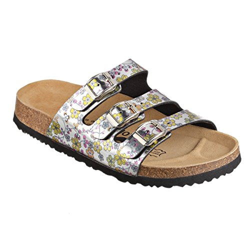 JOE N JOYCE Paris SynSoft Mirror Soft-Footbed Flower Sandals Narrow Silver Pink/Yellow 54sCd7BE7