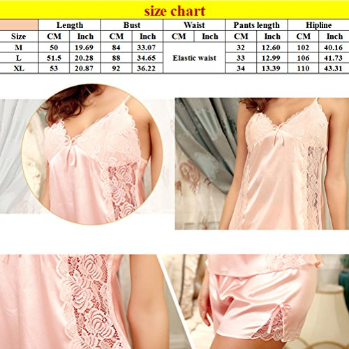 Zhhlinyuan 2pcs Women's Lace Silk Lingerie Strap Comfortable Sleeveless Sleepwear Black