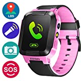 GBD GPS Tracker Kids Smart Watch for Children Girls Boys Holiday Birthday Easter Gifts with Camera SIM Calls Anti-lost SOS Smartwatch Bracelet for iPhone Android Smartphone (PinkBlack)