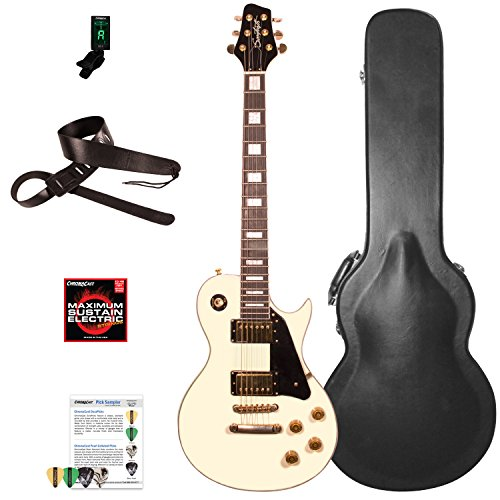 Sawtooth Heritage Series Maple Top Electric Guitar with ChromaCast Pro Series LP Body Style Hard Case & Accessories, Antique White