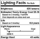 GE Lighting 66247 Soft White 43-Watt, 620-Lumen A19 Light Bulb with Medium Base, 4-Pack