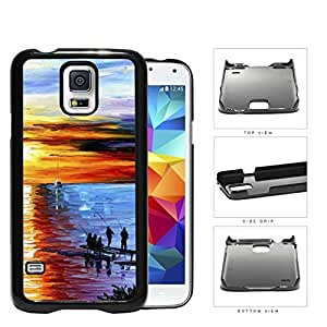 Men Fishing On Water Front Dock Overlooking The Sunset Oil Painting [Samsung Galaxy S5 SM-G900] Hard Snap on Plastic Cell Phone Cover