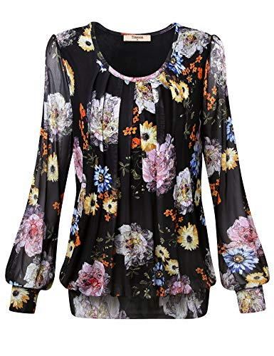 Casual Work Clothes For Women,Timeson Junior Floral Blouses Womens Blouses With Banded Bottoms Long Sleeve Utility Blouse Evening Tops Ladies Pleated Front Tunic Dressy Pink Shirt MultiBlack-4 Medium