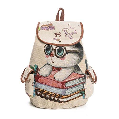 0a1a446d2 Bolso de las mujeres Lindo gato Impresión Mochila de lona con cordón Bolsa  de la compra