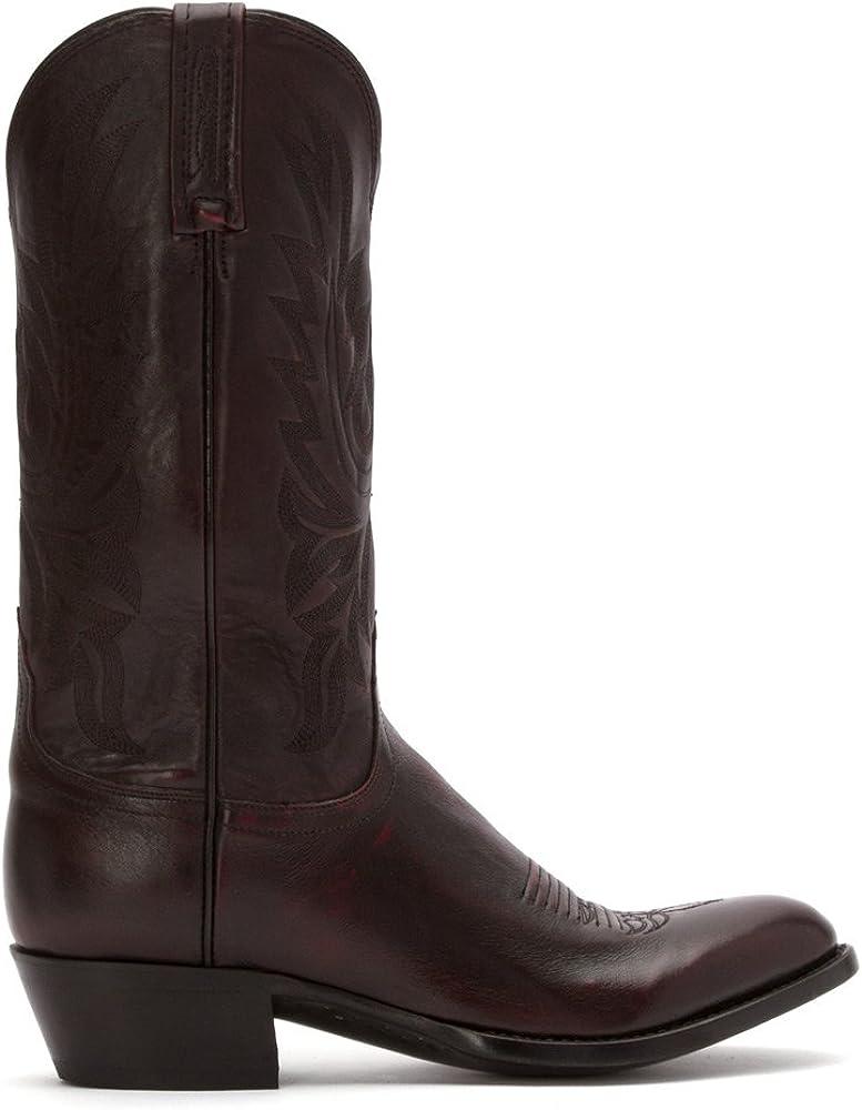 Lucchese Handmade Lonestar Calf Cowboy Boots Medium Toe Black Cherry M1021.R4