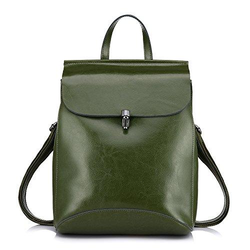 Bolsos Verde mujer de para Realer de bolso cuero genuino mochilas hombro TSxdwfq