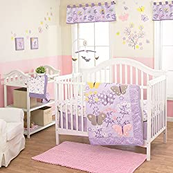 LuLu Purple Butterfly 4 Piece Baby Crib Bedding Set with Bumper by Belle