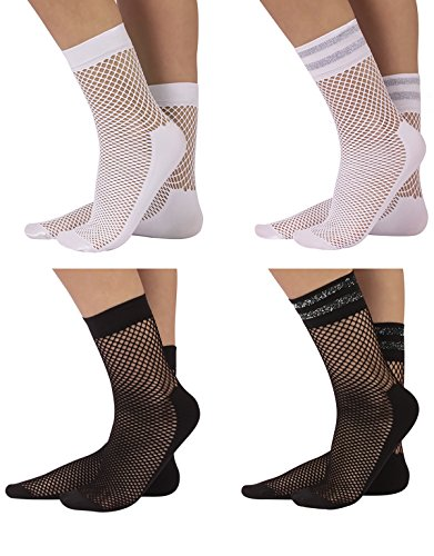 4 Pairs Woman Fishnet Socks | Lurex Net Ankle Socks with Comfort Sole | White, Black | One Size | Made in Italy