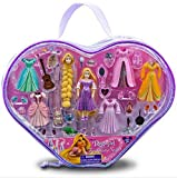 Disney 36 Piece Deluxe Tangled Rapunzel Fashion Set Featuring 6 Rapunzel Dresses, 6 Pairs of Shoes, 2 Changeable Princess Rapunzel Heads, Pascal, Bunny, Frying Pan and More