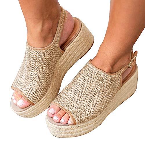 - Athlefit Women's Espadrille Wedge Sandals Braided Jute Ankle Buckle Platform Sandals Size 8 Beige