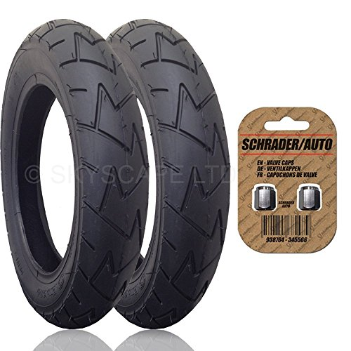 2 x MICRALITE SUPERLITE Suitable Stroller / Push Chair / Buggy REAR Tires to fit - 12 1/2'' x 1.75 - 2 1/4 (57-203) (Black) + + FREE Upgraded Skyscape Metal Valve Caps (Worth $4.99) by Rubena & Skyscape