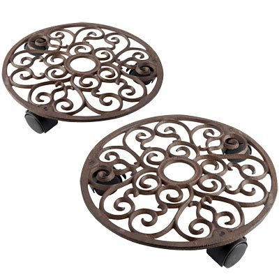 Iron Caddy Plant Cast (Set of 2 Esschert Design Round Plant Caddies, Aged Brown)