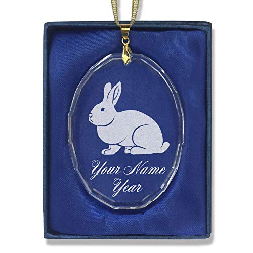 SkunkWerkz Christmas Ornament, Rabbit, Personalized Engraving Included (Oval Shape) -