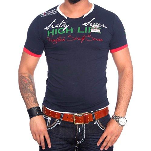 R-NEAL Clubwear Kurzarm Herren V-Neck T-Shirt Kontrast Shirt RTN-16691 NEU, Größe:S, Farbe:Blau