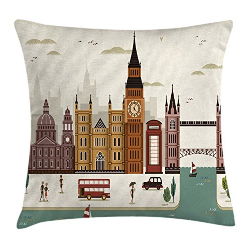 Ambesonne London Throw Pillow Cushion Cover, Attractive Travel Scenery Famous City England Big Ben Telephone Booth Westminster, Decorative Square Accent Pillow Case, 20 X 20 Inches, (Booth Bench Seat)