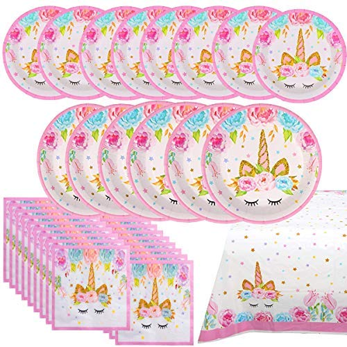 Shelling Home Birthday Party Supplies Including Plates Napkins Tablecover for Birthday Party Serve 16 Guests ()