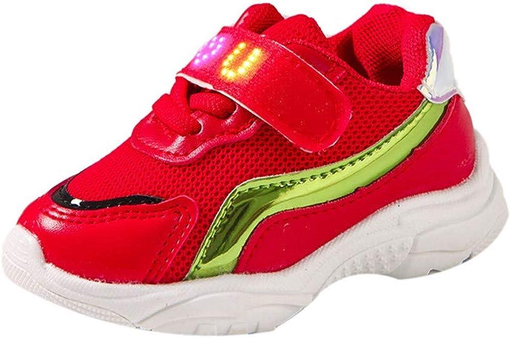 XUANOU Children Baby Girls Boys Letter Mesh Led Light Luminous Running Sport Shoes