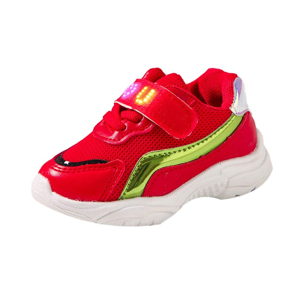 Voberry@ Children Baby Girls Boys Breathable Mesh Led Light Luminous Running Sport Sneaker Shoes