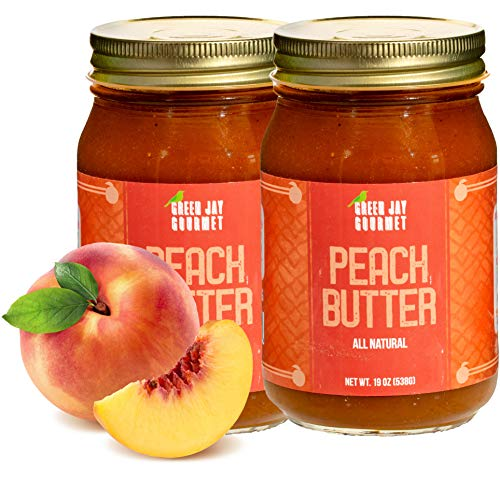Green Jay Gourmet Peach Butter - All-Natural, Gluten-Free Fruit Spread - Peach Spread with Peaches & Spices - Gourmet Fruit Butter - No Corn Syrup, Preservatives or Trans-Fats - 2 x 19 Ounces