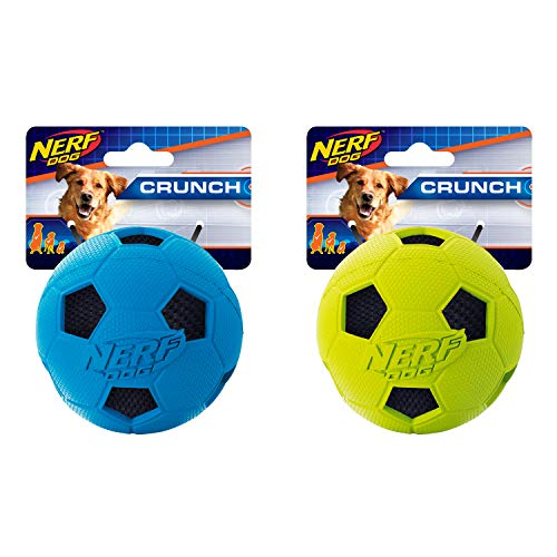 - Nerf Dog (2-Pack) Crunchable Soccer Squeak Ball Toy, Green/Blue, Medium
