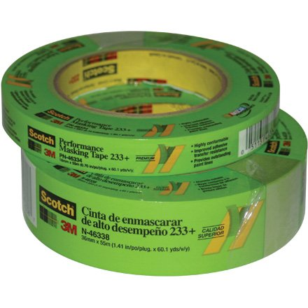 - 3M 233+ Crepe Paper Performance Masking Tape, 250 Degree F Performance Temperature, 25 lbs/in Tensile Strength, 60 yds Length x 1
