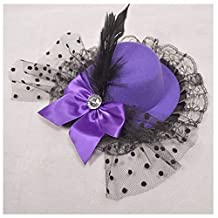 GOOTRADES Women Bow Hair Clip Lace Feather Mini Top Hat Fascinator Fancy Party
