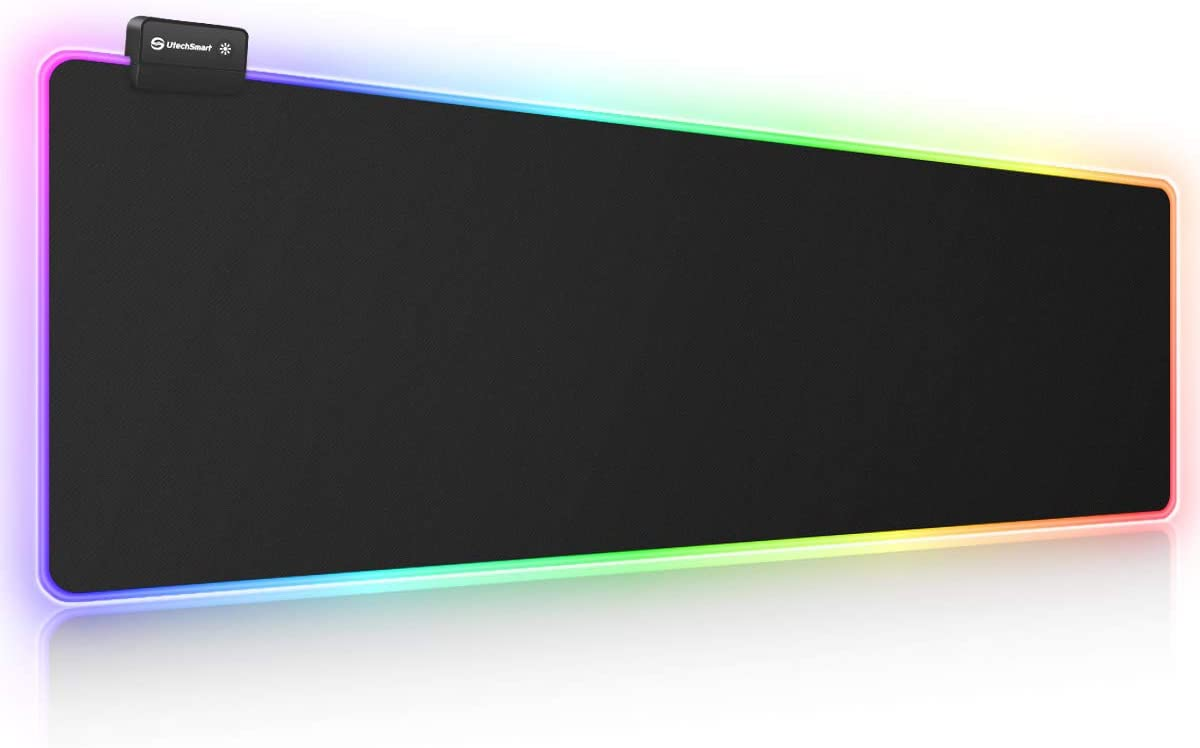 RGB Gaming Mouse Pad, UtechSmart Large Extended Soft Led Mouse Pad with 14 Lighting Modes 2 Brightness Levels, Computer Keyboard Mousepads Mat 800 x 300mm / 31.5×11.8 inches
